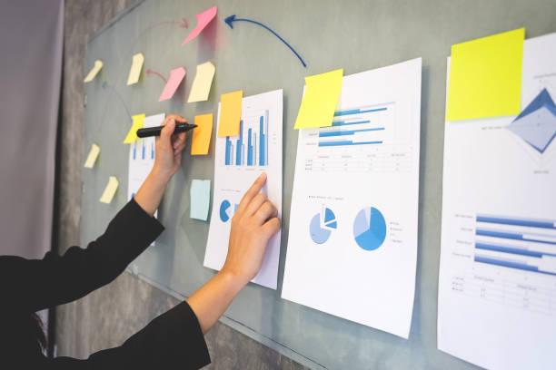 Trabalho de desenho no flipchart, empresária, tornando o novo plano a bordo em durante apresentação na conferência - foto de acervo