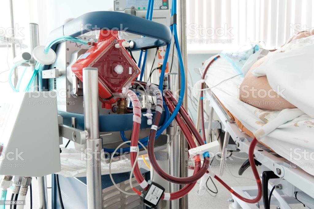 working ecmo machine in intensive care department working ecmo machine in intensive care department Artificial Stock Photo