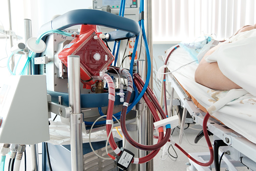 Working Ecmo Machine In Intensive Care Department Stock Photo - Download Image Now