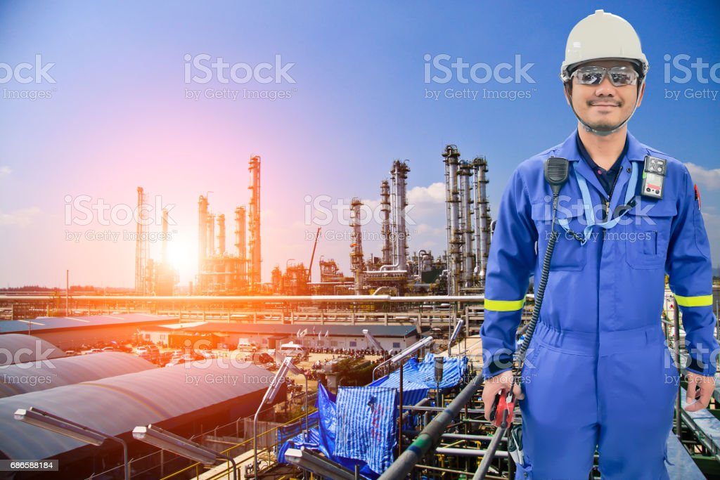 Working engineer at petrochemical oil and gas refinery royalty-free stock photo
