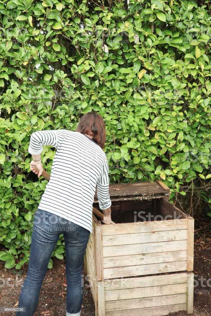 Working farmer woman caucasian female tumbling the compost with a pitch fork stock photo