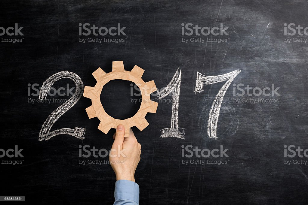 Working for a successful 2017 stock photo