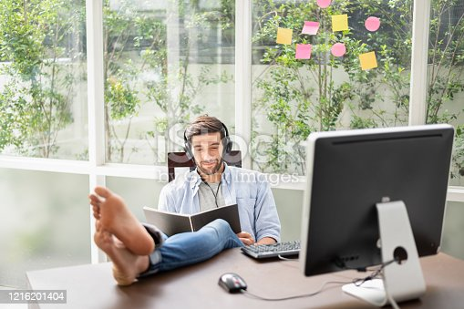 1098316816 istock photo Working from home avoids meeting people while the covid-19 virus is spreading. 1216201404