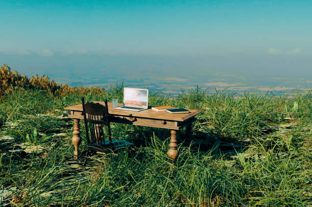 Working from home in a remote location outside stock photo