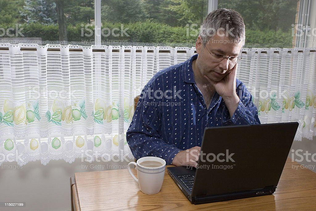 Working from Home in PJs royalty-free stock photo