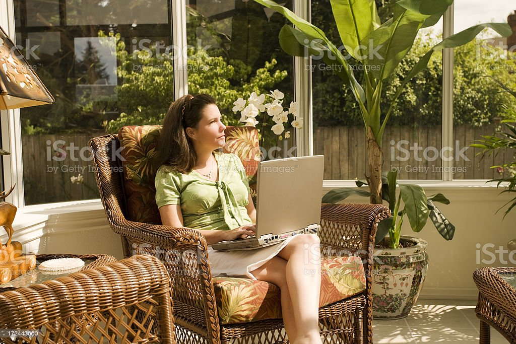 Working from Home on a Sunny Day royalty-free stock photo