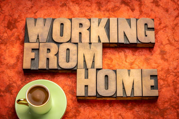 working from home word abstract in wood type stock photo