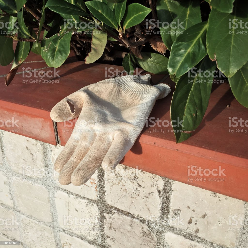Working glove lost and found in the street royalty-free stock photo