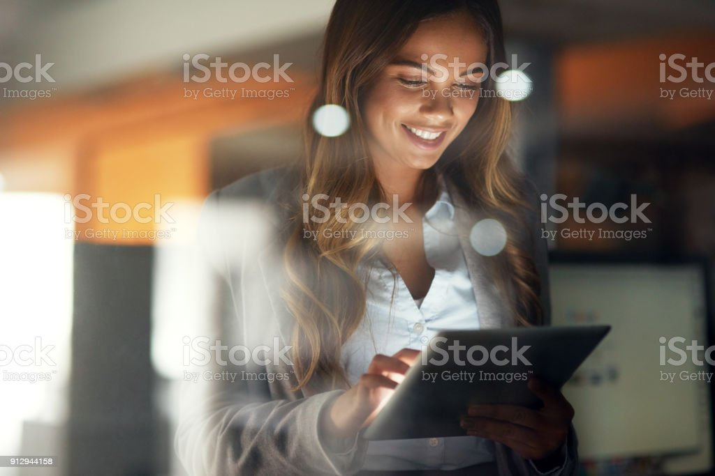 Working hard no matter the time stock photo
