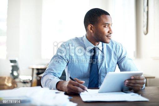 istock Working hard to fulfil his ambition of succeeding big 691781914
