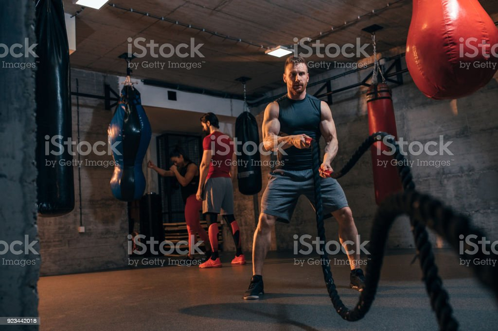 Working his muscles stock photo