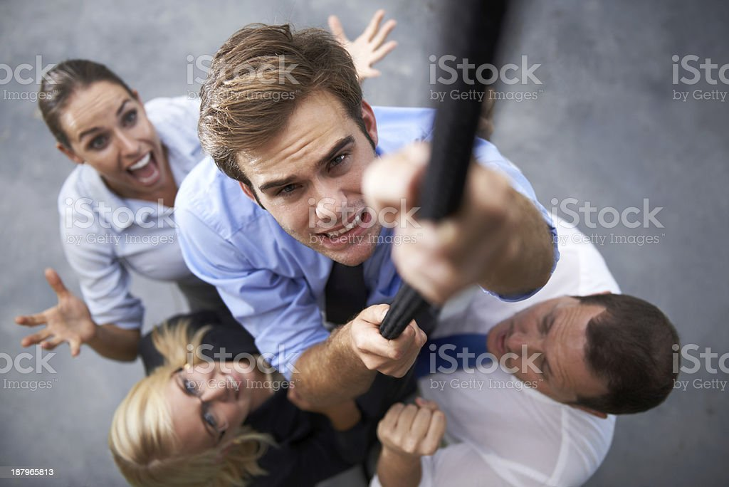 Working his way to the top stock photo