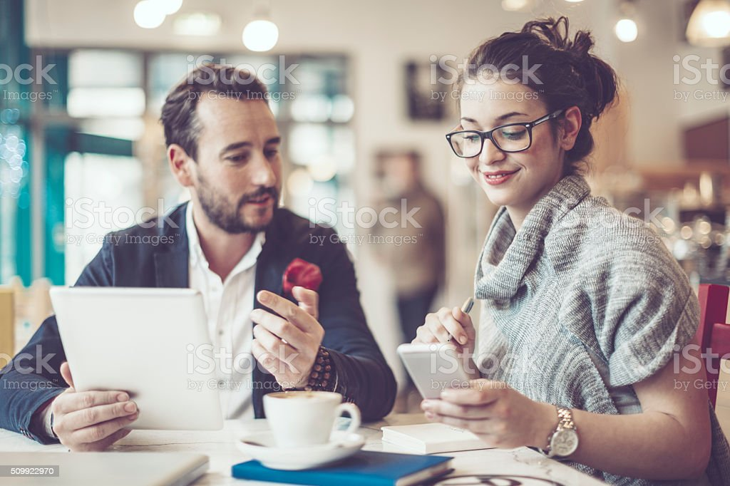 Working in a café stock photo