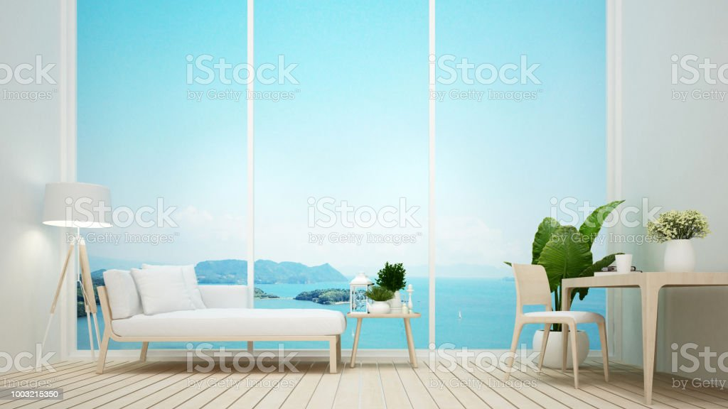 Working in a hotel or apartment and sea view background - Living room...