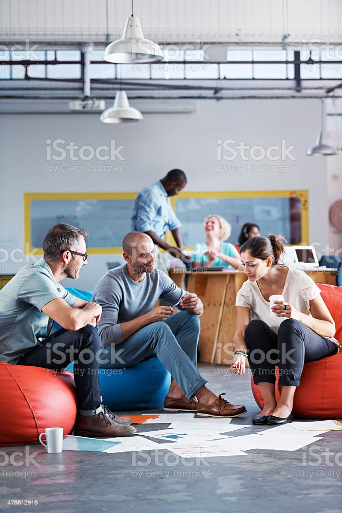 Working in a relaxed office stock photo