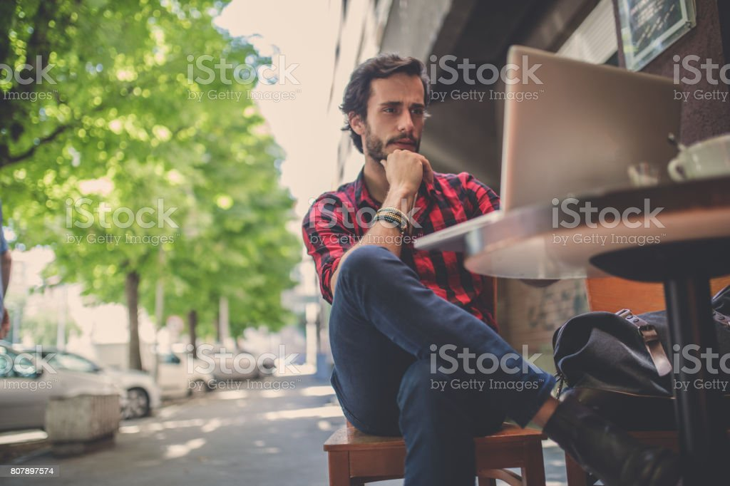 Working in cafe stock photo