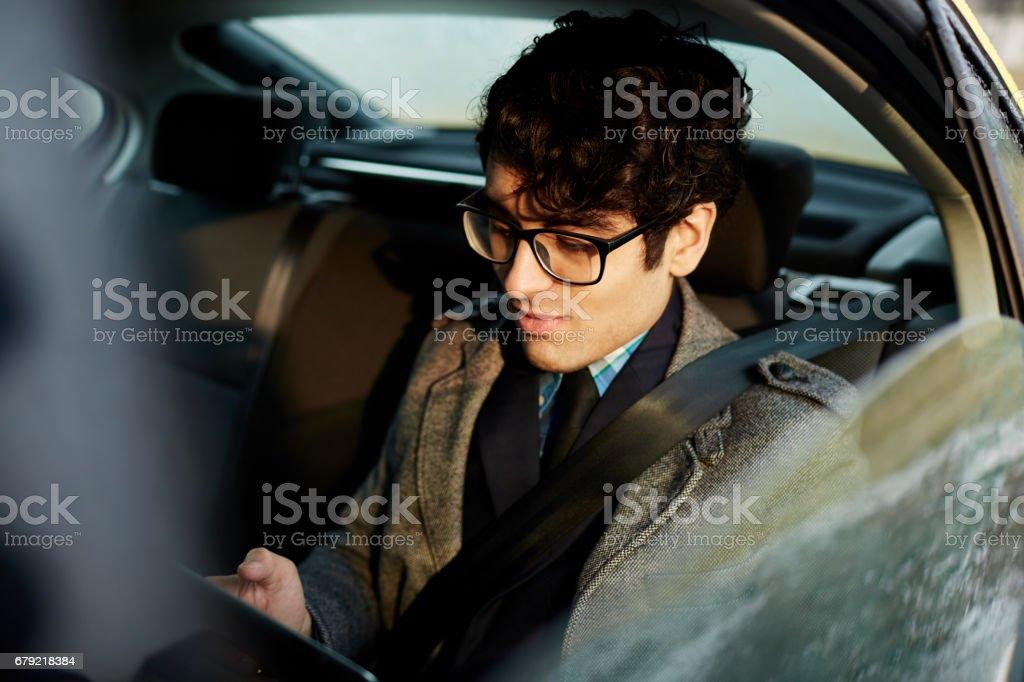 Working in car Lizenzfreies stock-foto