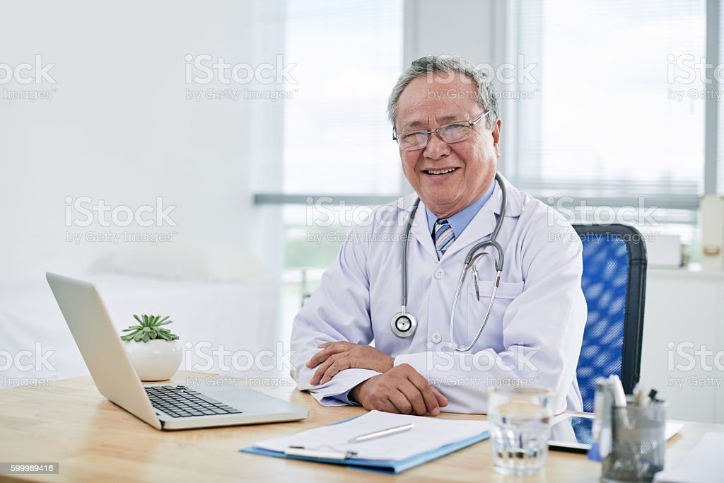 Working in clinic stock photo