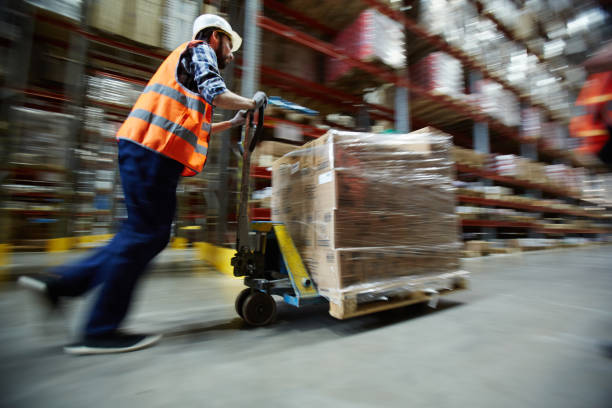 Working in distribution center stock photo