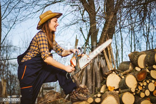 Forest, Woodland, Working,Chainsaw,feminity