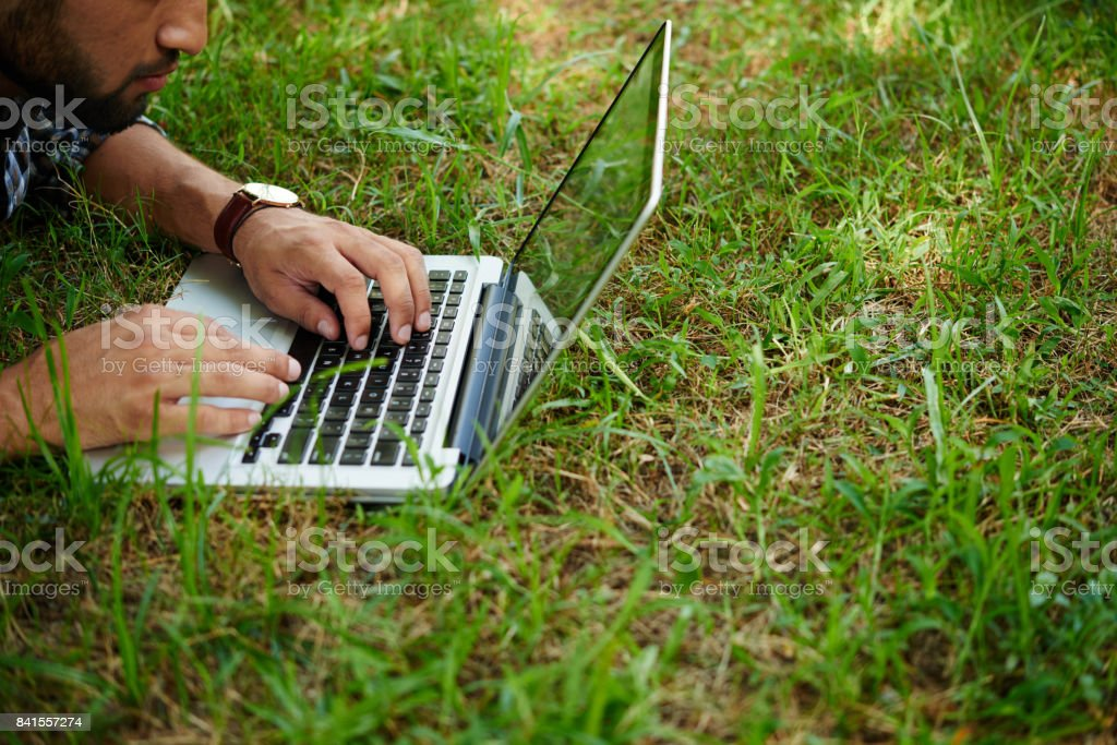 Working in fresh air stock photo