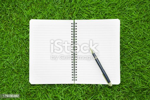 istock working in nature:Notebook and pen on grass background 179493462
