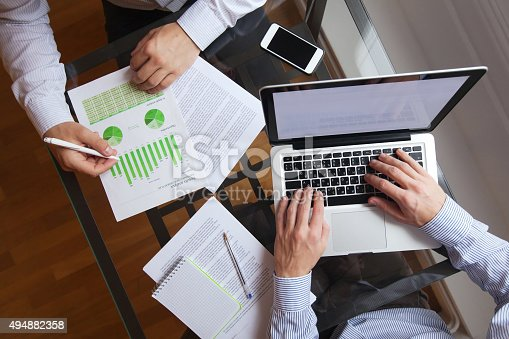 business people working on the table, top view