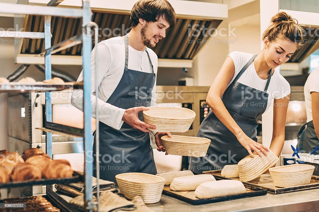 Working in the bakery stock photo
