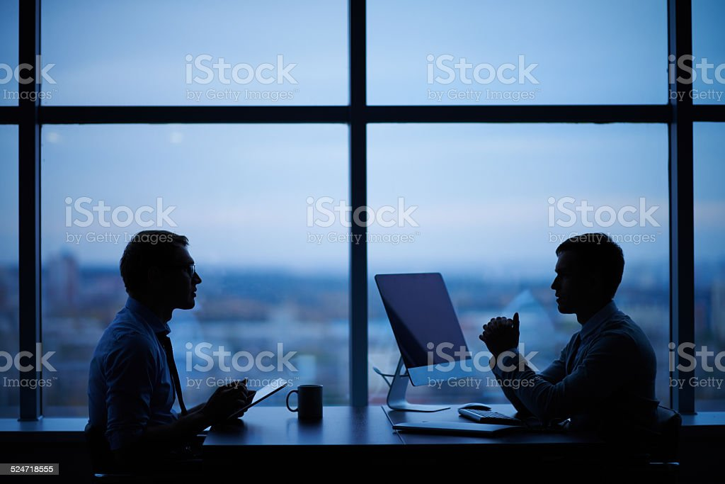 Working in the evening stock photo