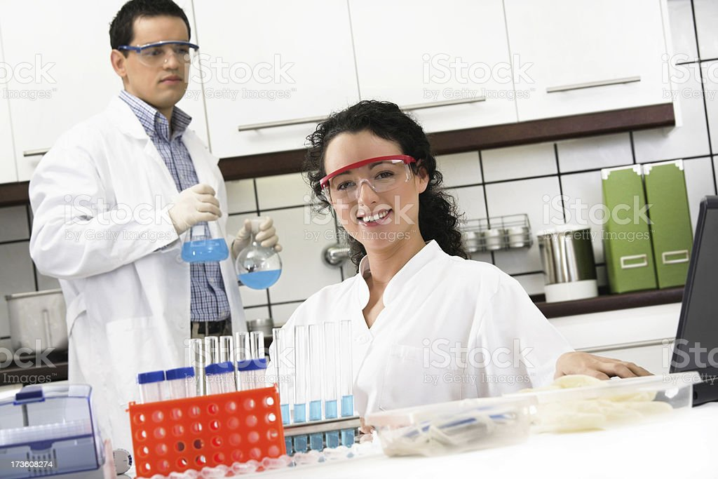 Working in the laboratory stock photo