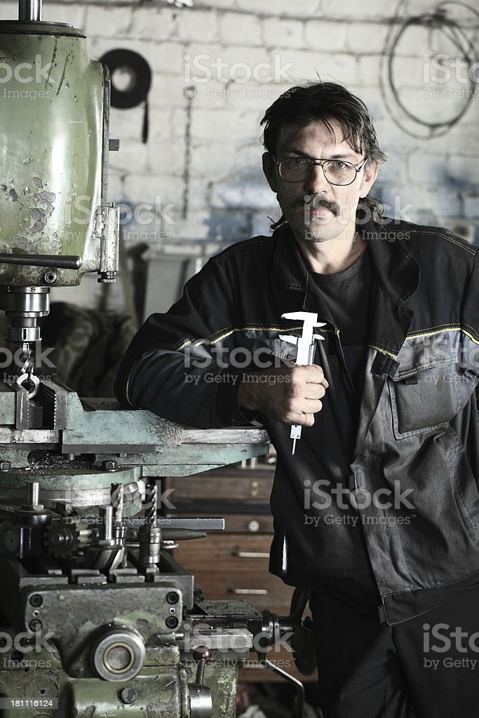 working in the machine tool stock photo