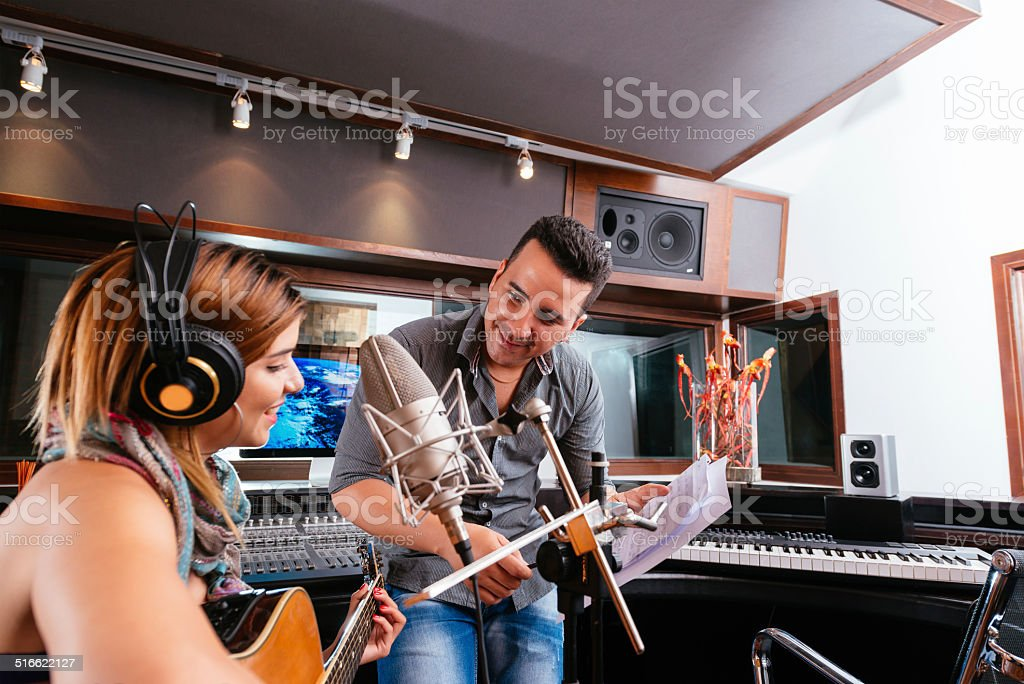 Working in the recording studio stock photo