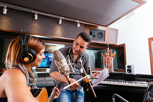 Working in the recording studio stock photo
