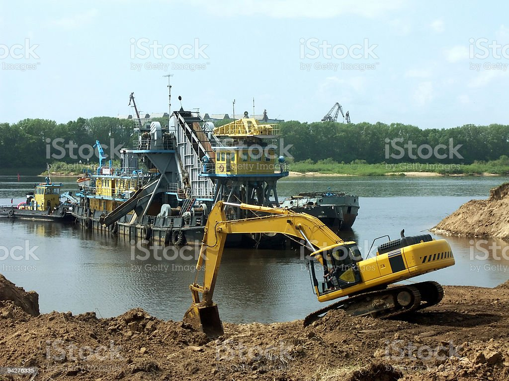 Working in the river royalty-free stock photo