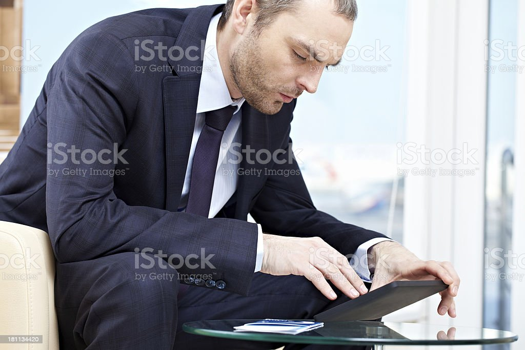 Working in waiting room royalty-free stock photo