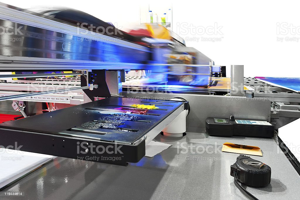 Working industrial large format UV inkjet printer stock photo