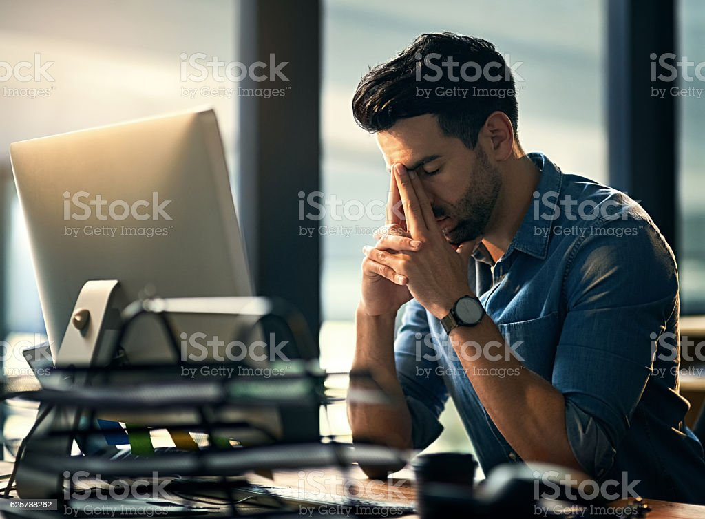 Working late just isn't working stock photo
