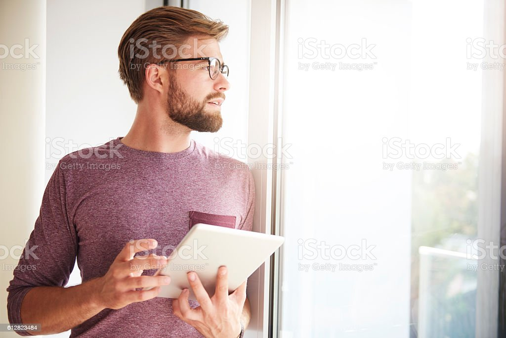 Working man in sunny day stock photo