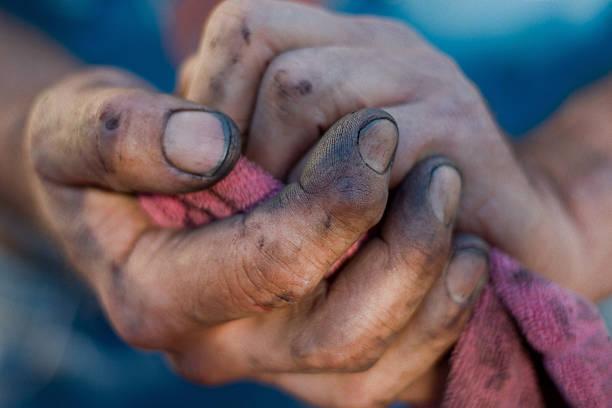 Working Man's Hands - Dirt Under Fingernails stock photo