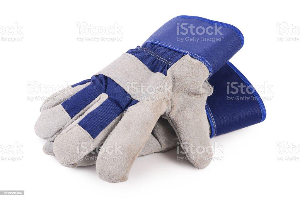 Working mens gloves on white background foto de stock libre de derechos