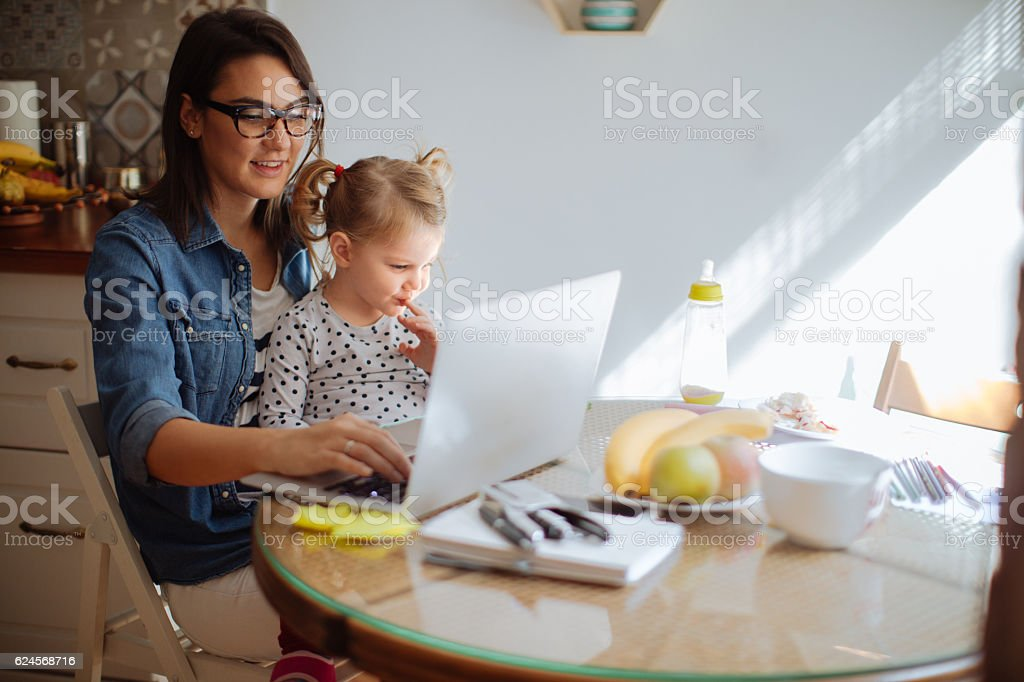 Working mother stock photo