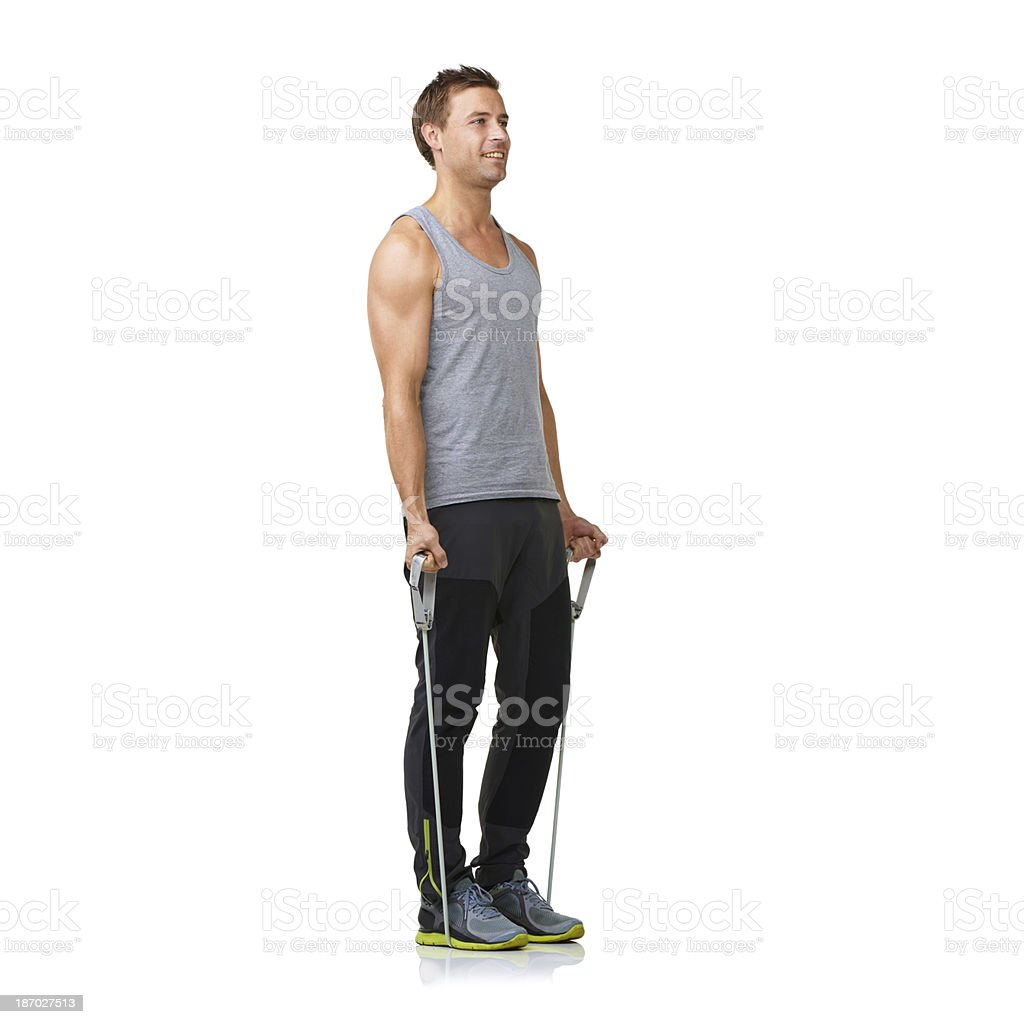 Working off of his own strength - Resistance training royalty-free stock photo