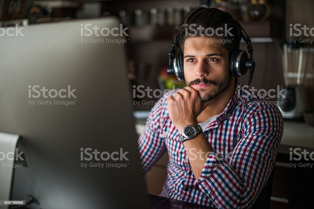 Working on a computer stock photo