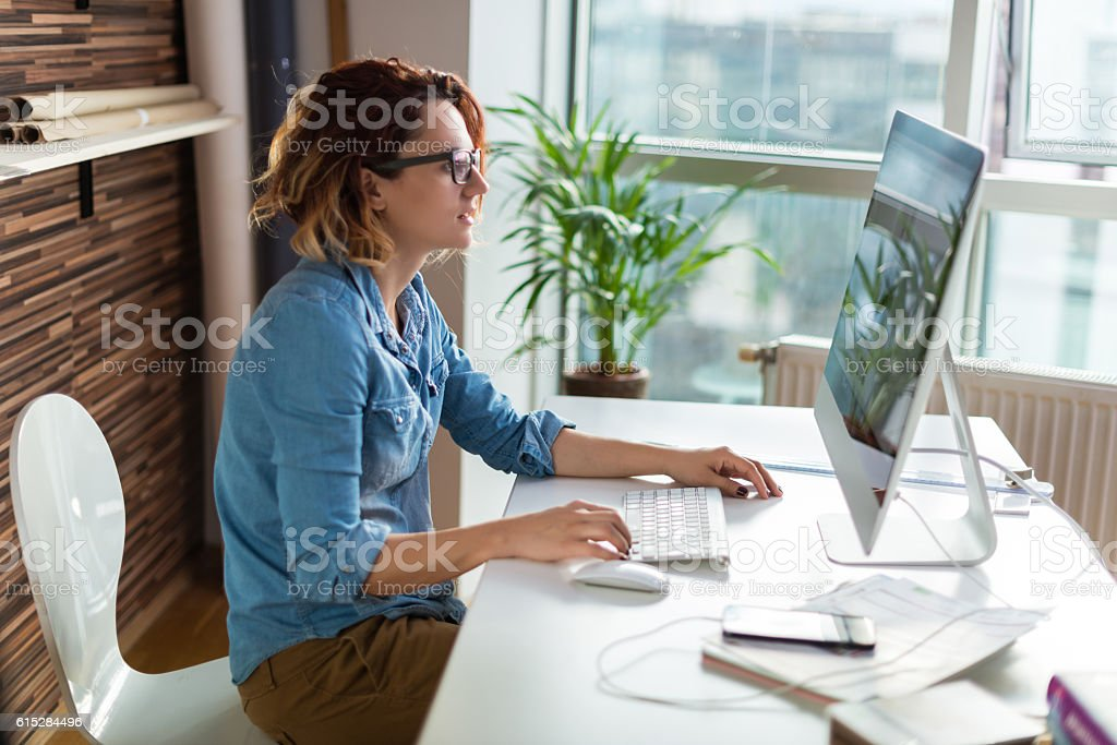 Working on a design stock photo