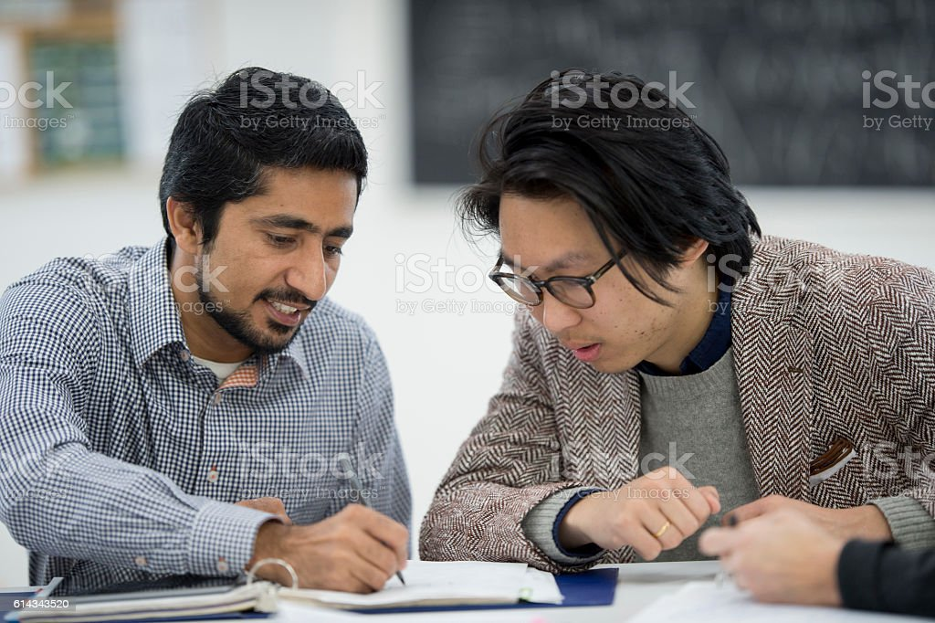 Working on a Homework Assignment bildbanksfoto