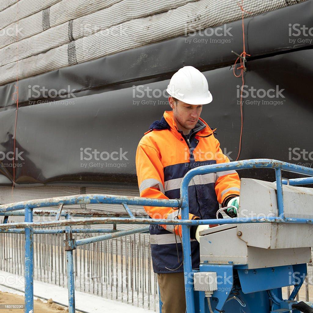 Working on a hydraulic platform. royalty-free stock photo