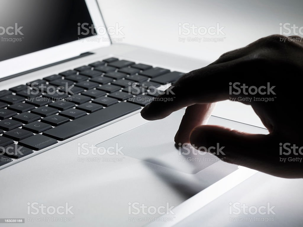 Working on a laptop royalty-free stock photo