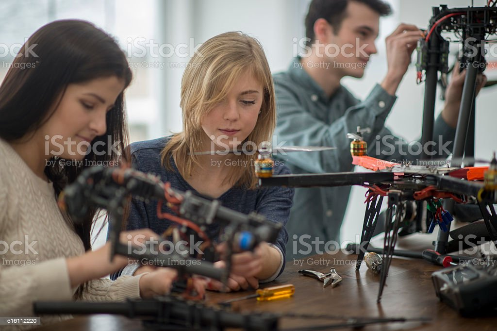Working on a Mechanical Drone Project stock photo