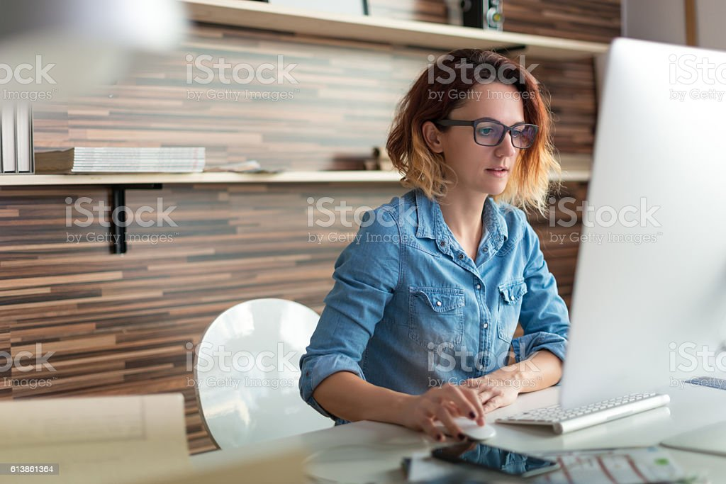 Working on a pc stock photo