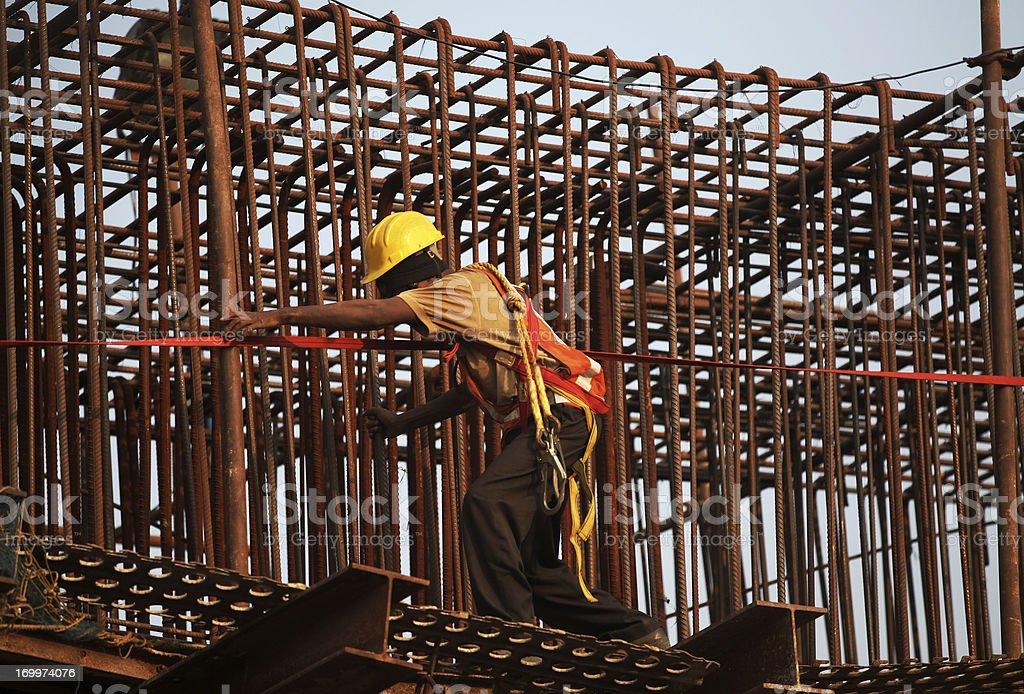 Working on a reinforcing bar structure stock photo